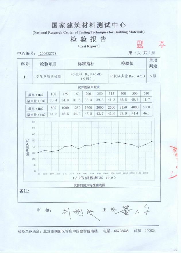 深圳隔音门窗隔音玻璃--检测报告